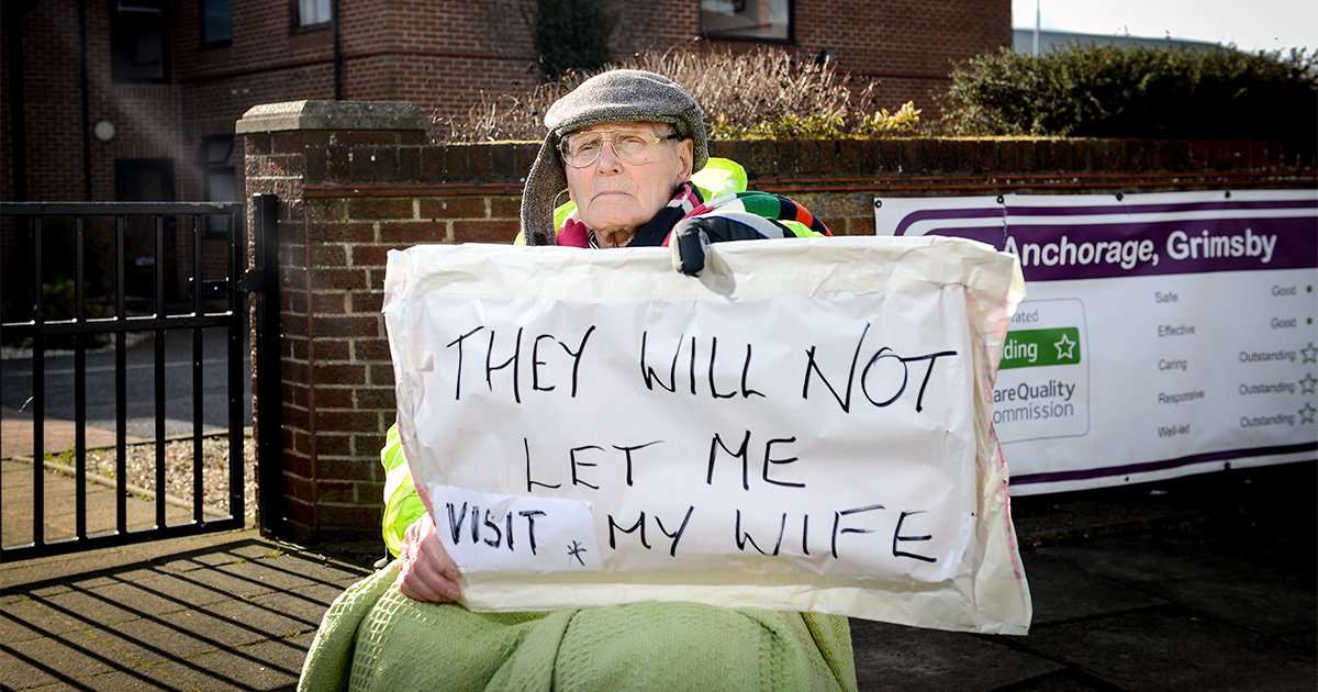 Man, 89, 'banned from seeing wife' starts wheelchair protest outside care home