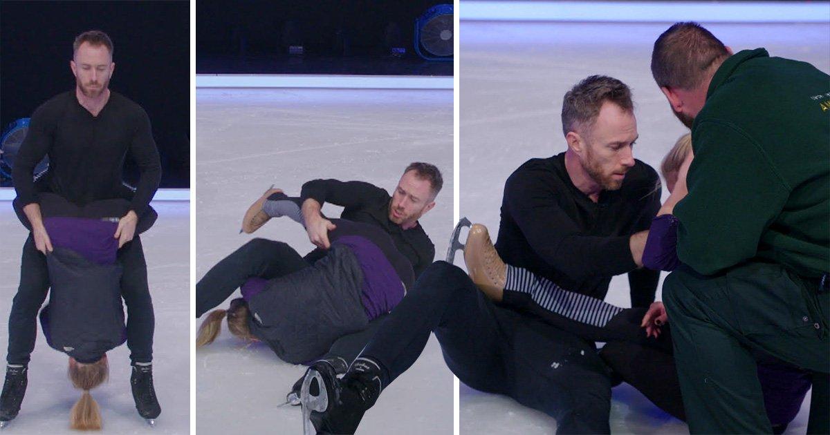 Dancing On Ice's James Jordan drops partner on her head in horror fall