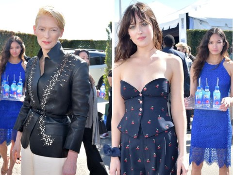 Another Fiji Water Girl emerges as fresh model photobombs Dakota Johnson, Glenn Close and Richard E Grant at Spirit Awards