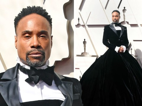Pose star Billy Porter wins Oscars red carpet in velvet tuxedo gown so everyone else can go home