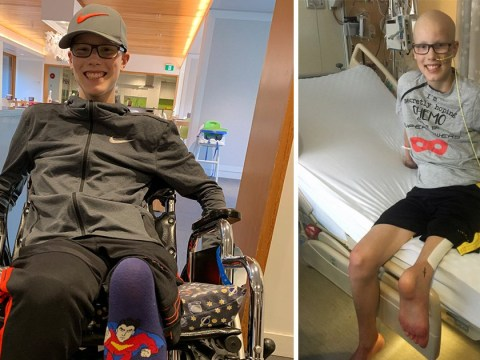 Teenager who lost his leg to bone cancer shows off new knee formed from his ankle