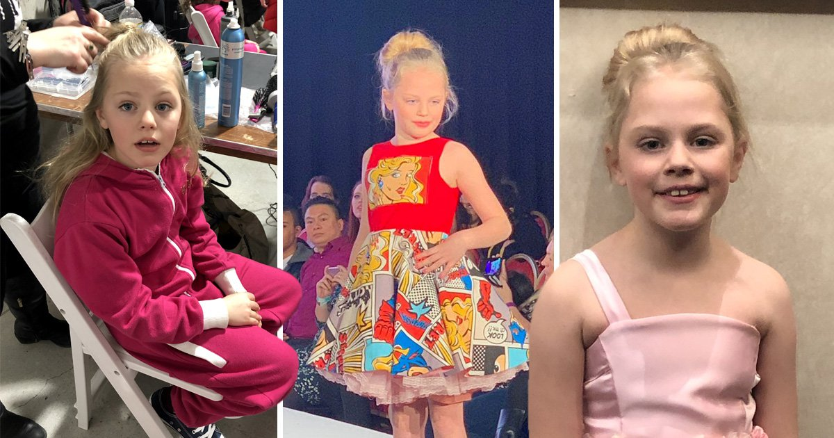 Eight-year-old girl who had a hole in her heart walks the runway at London Fashion Week