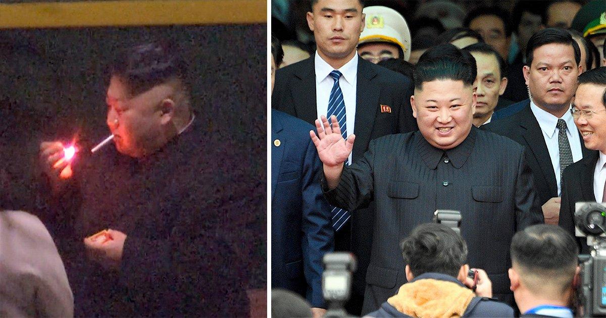 Kim Jong-un uses human ashtray while smoking on his way to Trump summit