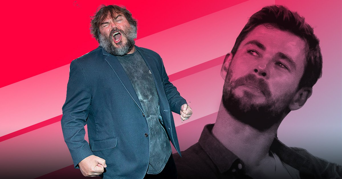 Jack Black tries out Chris Hemsworth's Thor workout and we're sweating watching his attempt