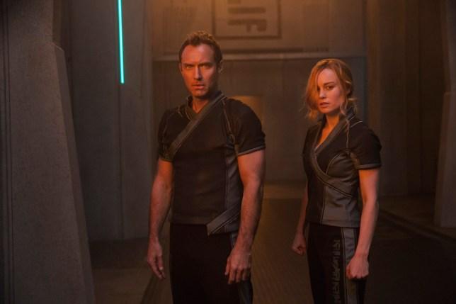 Marvel Studios' CAPTAIN MARVEL..L to R: Leader of Starforce (Jude Law) and Carol Danvers/Captain Marvel (Brie Larson)..Photo: Chuck Zlotnick..??Marvel Studios 2019