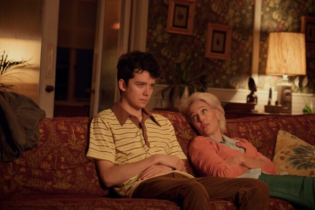 Editorial use only. No book cover usage. Mandatory Credit: Photo by Sam Taylor/Netflix/Kobal/REX/Shutterstock (10063277g) Asa Butterfield as Otis and Gillian Anderson as Jean 'Sex Education' TV Show Season 1 - 2019 A teenage boy with a sex therapist mother teams up with a high school classmate to set up an underground sex therapy clinic at school.