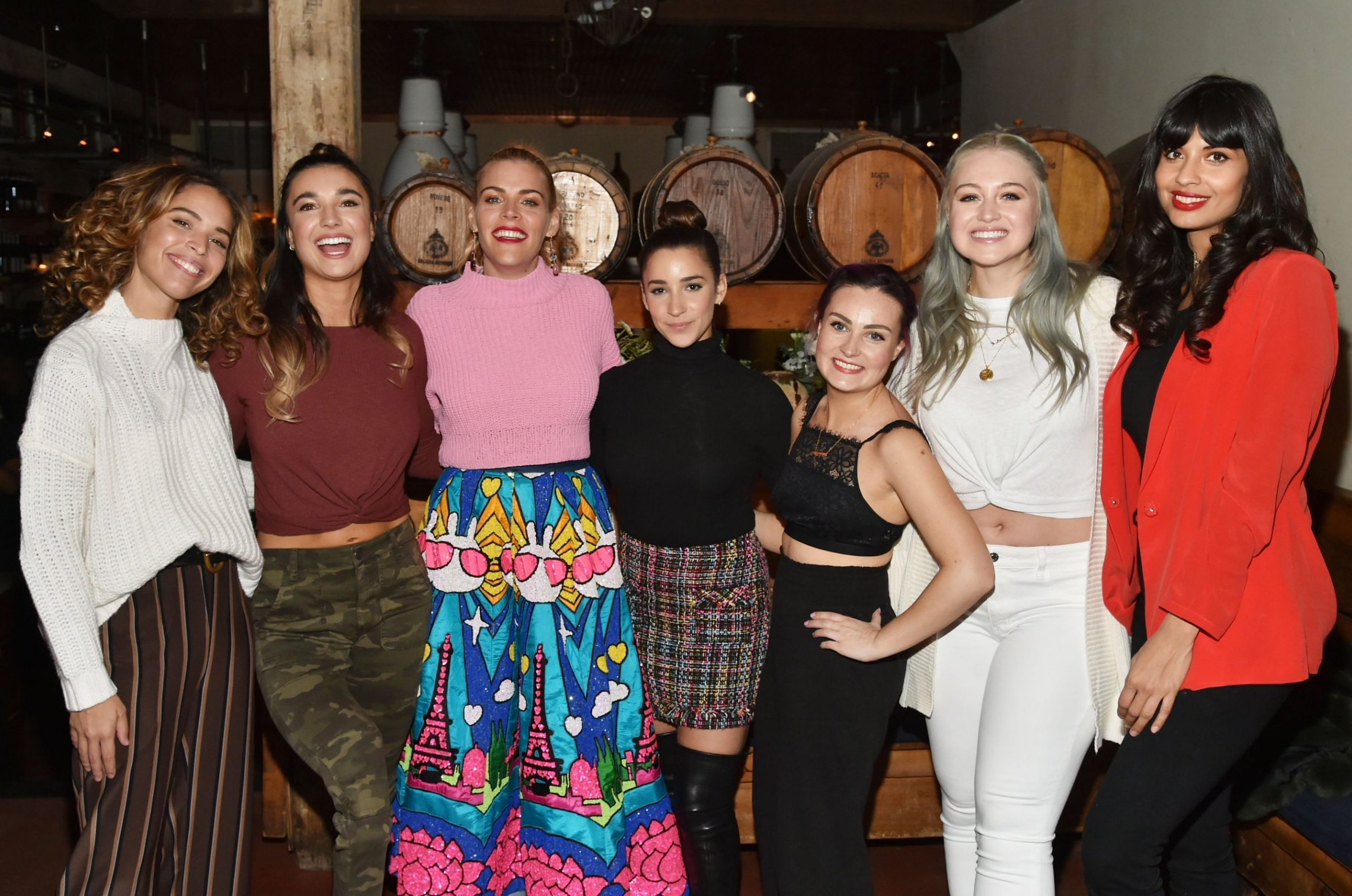Mandatory Credit: Photo by Andrew H. Walker/WWD/REX (10080009aq) Cleo Wade, Brenna Huckaby, Busy Philipps, Aly Raisman, Molly Burke, Iskra Lawrence, and Jameela Jamil Aerie 'Changing the Course' Dinner, New York, USA - 31 Jan 2019