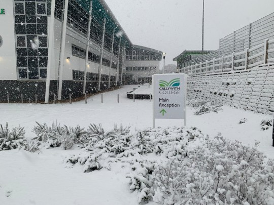METRO GRAB - taken from the Twitter of Callywith College Students snowed in at college overnight Credit: Callywith College