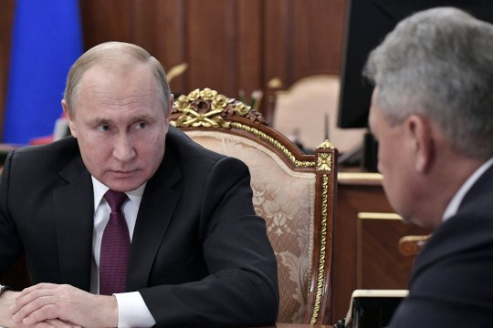 Russian President Vladimir Putin looks on during a meeting with Defence Minister Sergei Shoigu and Foreign Minister Sergei Lavrov at the Kremlin in Moscow, Russia, February 2, 2019. Sputnik/Alexei Nikolsky/Kremlin via REUTERS ATTENTION EDITORS - THIS IMAGE WAS PROVIDED BY A THIRD PARTY.