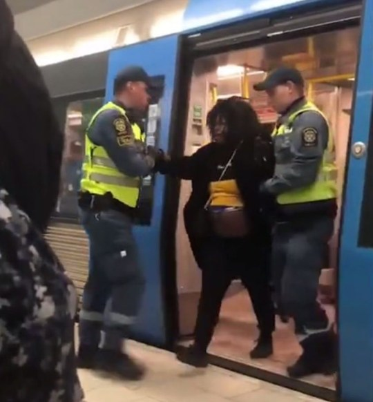 Picture: Action4Humanity_se Pregnant mum dragged off train in Sweden