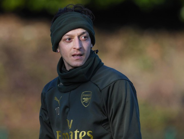 ST ALBANS, ENGLAND - FEBRUARY 02: Mesut Ozil of Arsenal during a training session at London Colney on February 02, 2019 in St Albans, England. (Photo by Stuart MacFarlane/Arsenal FC via Getty Images)
