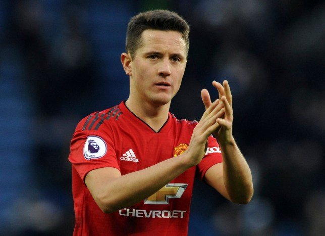 Manchester United's Ander Herrera during the English Premier League soccer match between Leicester City and Manchester United at the King Power Stadium in Leicester, England, Sunday, Feb 3, 2019. (AP Photo/Rui Vieira)