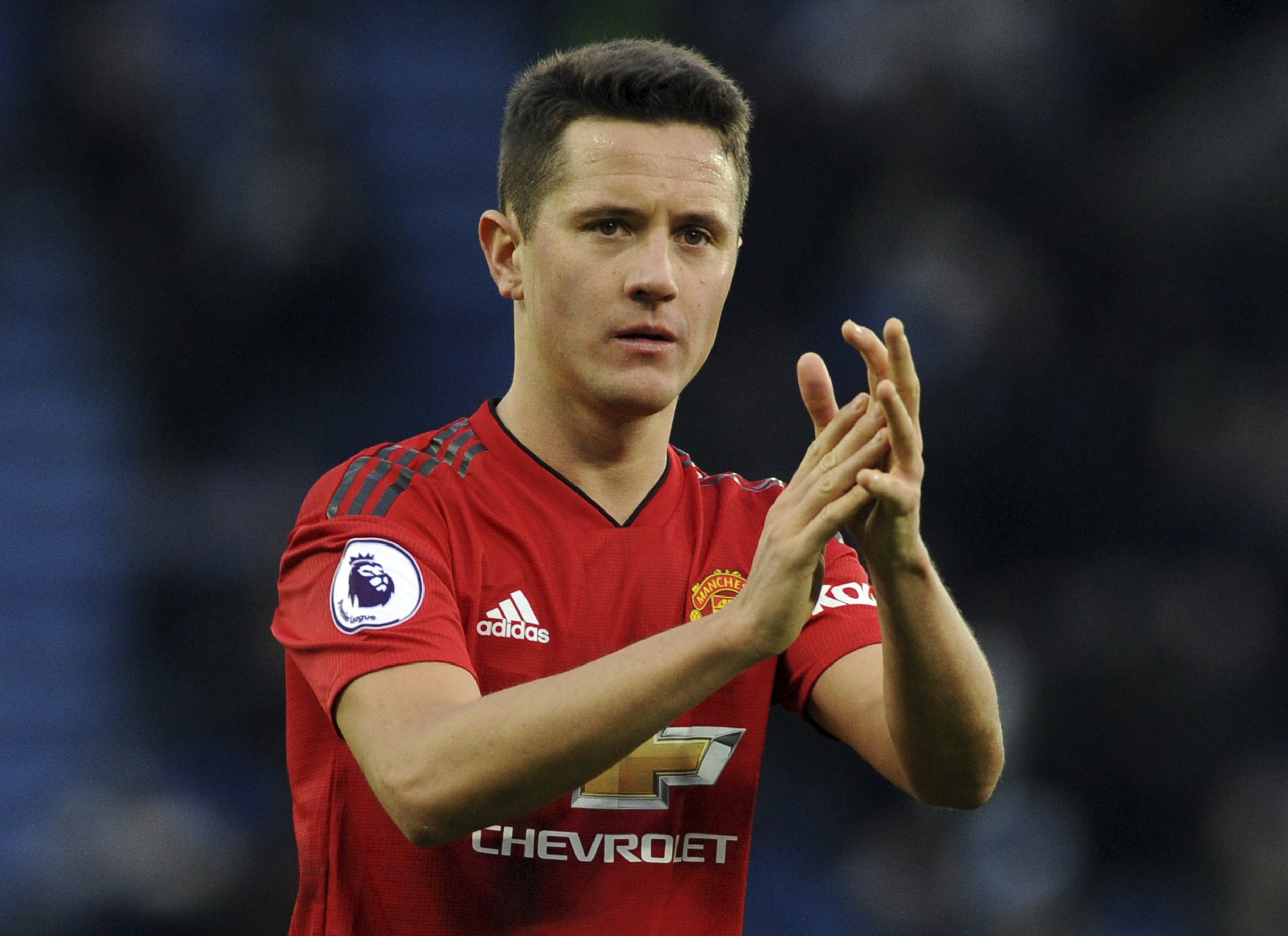 Manchester United's Ander Herrera during a English Premier League soccer compare between Leicester City and Manchester United during a King Power Stadium in Leicester, England, Sunday, Feb 3, 2019. (AP Photo/Rui Vieira)