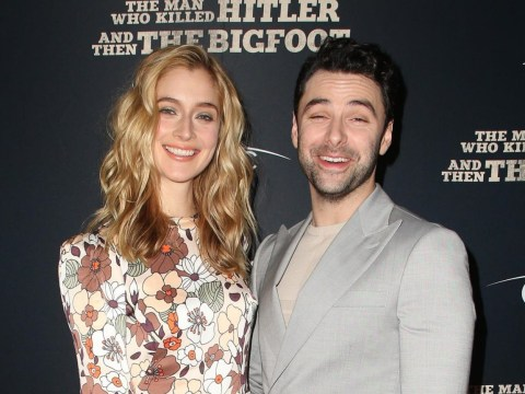 Aidan Turner and girlfriend Caitlin Fitzgerald are the picture of happiness at their movie premiere