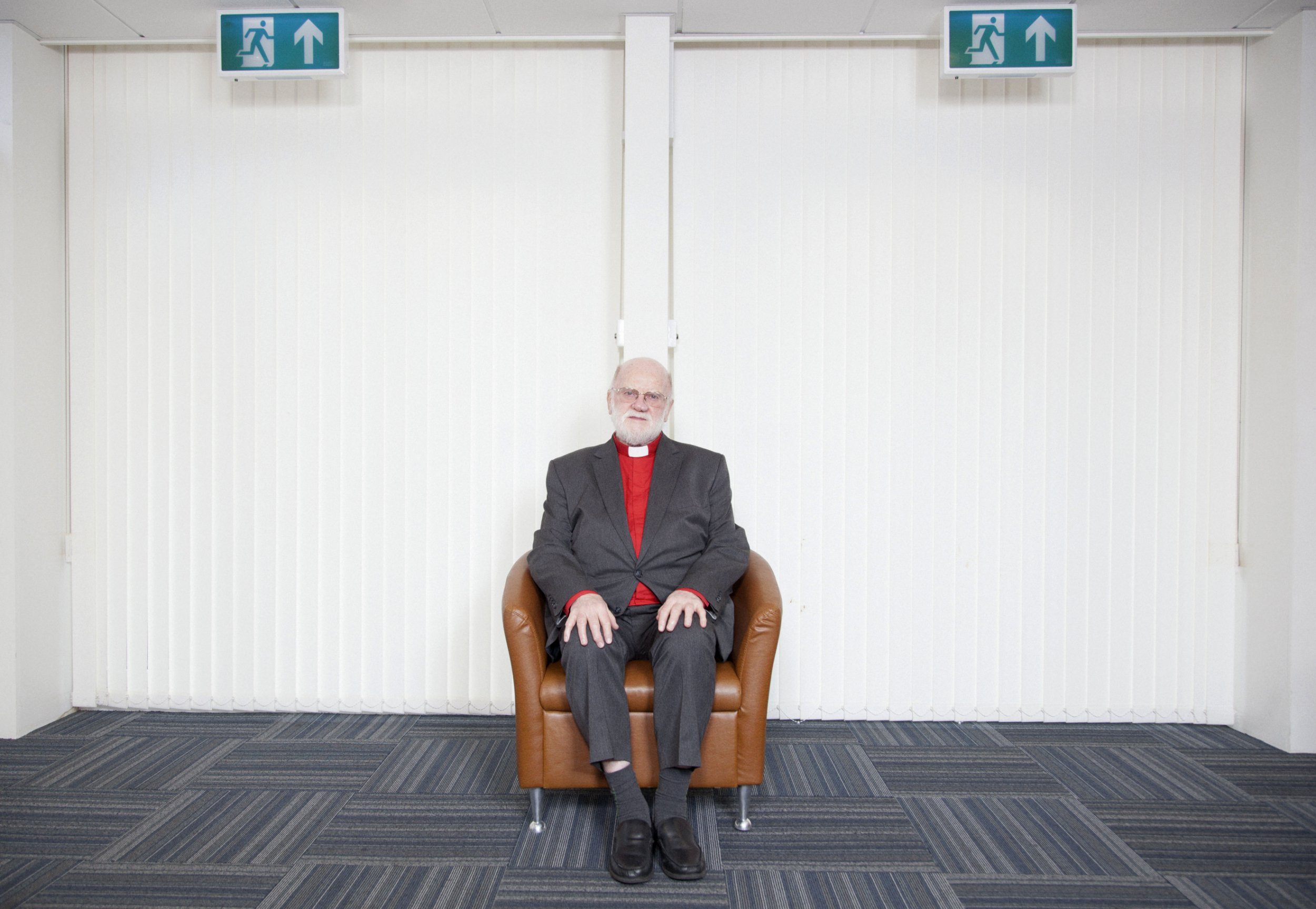 Assosciate chaplain of University of South Wales, Ray Vincent sits at a room in the meeting house at the Treforest Campus in South Wales, U.K.