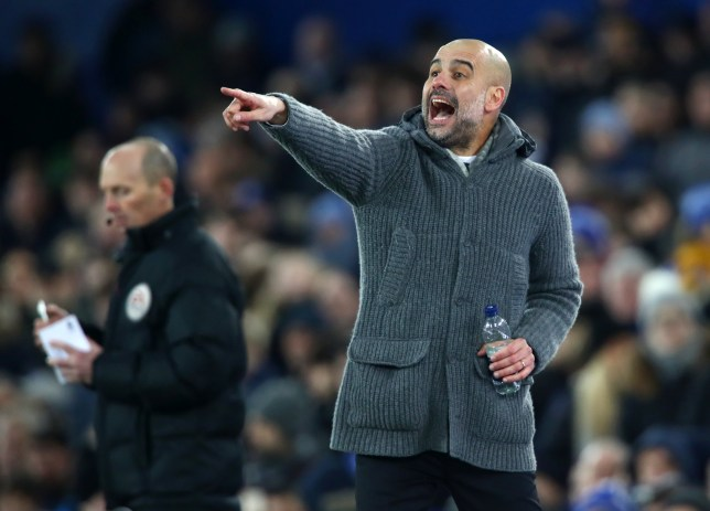LIVERPOOL, ENGLAND - FEBRUARY 06: Josep Guardiola, Manager of Manchester City reacts during the Premier League match between Everton FC and Manchester City at Goodison Park on February 06, 2019 in Liverpool, United Kingdom. (Photo by Clive Brunskill/Getty Images)