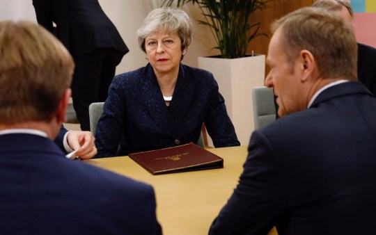 "BRUSSELS, BELGIUM - FEBRUARY 07: (----EDITORIAL USE ONLY MANDATORY CREDIT - ""EU COUNCIL / HANDOUT"" - NO MARKETING NO ADVERTISING CAMPAIGNS - DISTRIBUTED AS A SERVICE TO CLIENTS----) British Prime Minister Theresa May (C) meets with President of the European Council Donald Tusk (R) in Brussels, Belgium on February 07, 2019. (Photo by EU Council / Handout/Anadolu Agency/Getty Images)"