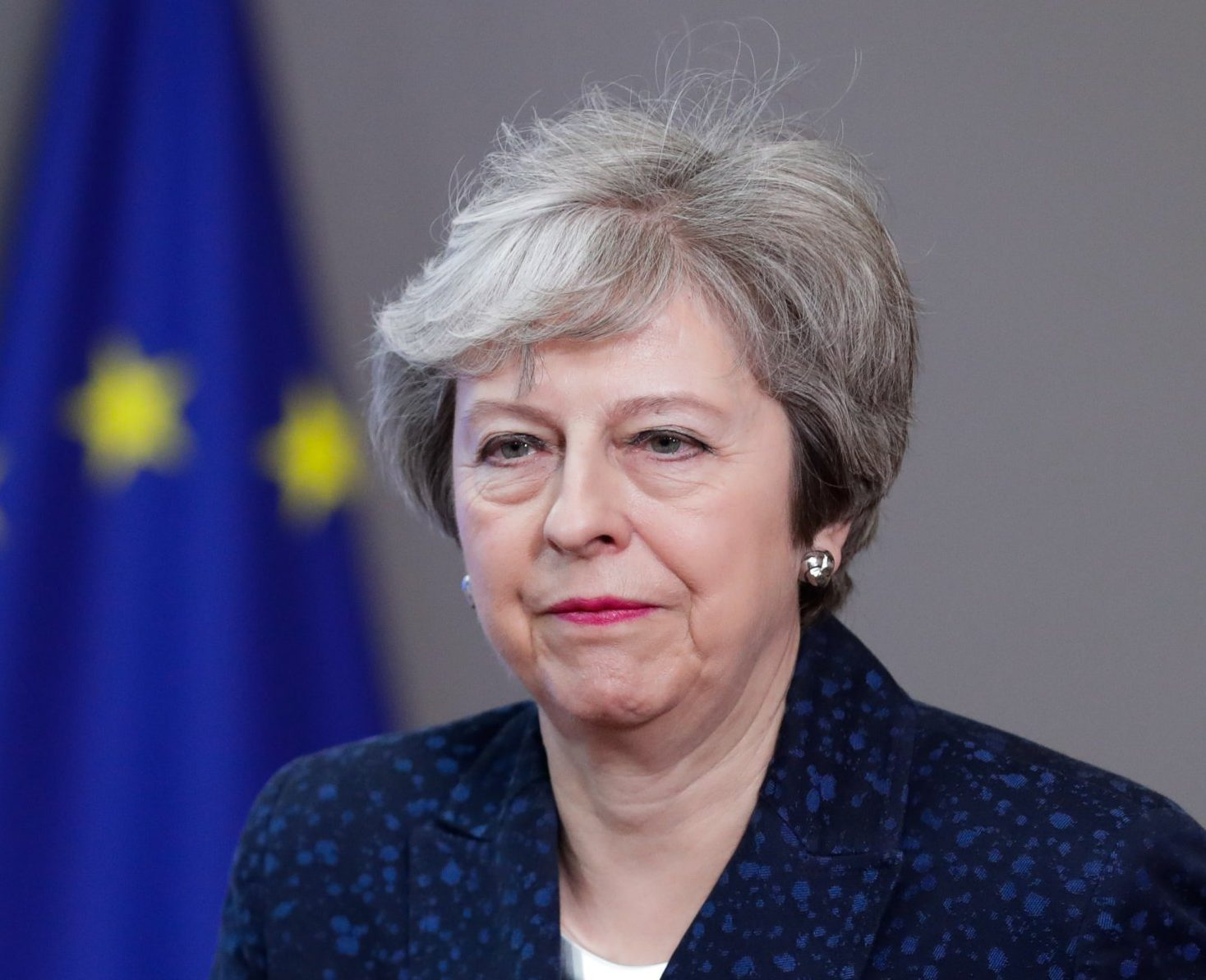 epa07350423 British Prime Minister Theresa May arrives to speak to the press after a meeting with the President of the European Council Donald Tusk at the European Council in Brussels, Belgium, 07 February 2019. May is in Brussels to discuss Brexit and related issues. EPA/STEPHANIE LECOCQ