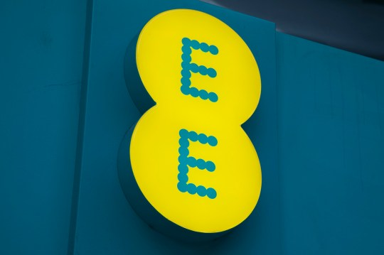Sign for the mobile phone and telephone service provider brand EE in Birmingham, United Kingdom. (photo by Mike Kemp/In PIctures via Getty Images)