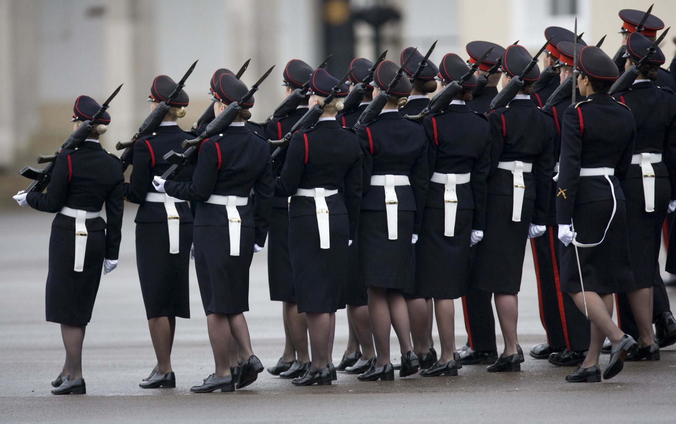 Mandatory Credit: Photo by David Hartley/REX/Shutterstock (903127d) Officer cadets on parade The Sovereign's Parade,The Royal Military Academy, Sandhurst, Berkshire, Britain - 09 Apr 2009 Officer cadets take part in the passing out graduation parade at The Royal Military Academy in Sandhurst.