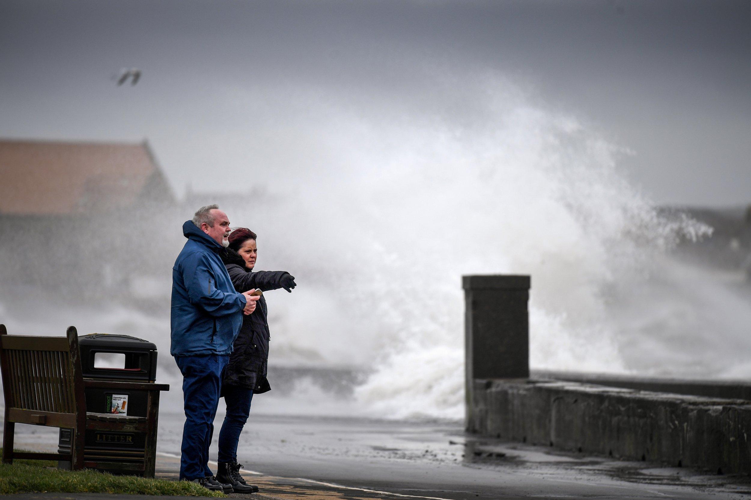 Picture of Storm Erik hitting Prestwick, Scotland