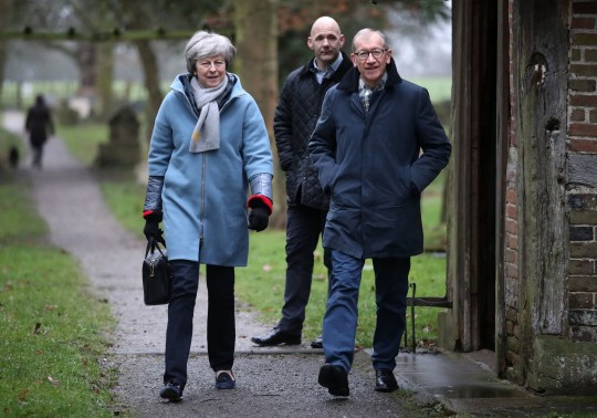 Prime Minister Theresa May and her husband Philip leave after a church service near her Maidenhead constituency. PRESS ASSOCIATION Photo. Picture date: Sunday February 10, 2019. See PA story POLITICS May. Photo credit should read: Andrew Matthews/PA Wire