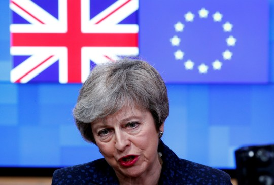 FILE PHOTO: British Prime Minister Theresa May speaks to the press at the European Council headquarters in Brussels, Belgium February 7, 2019. REUTERS/Francois Lenoir/File Photo