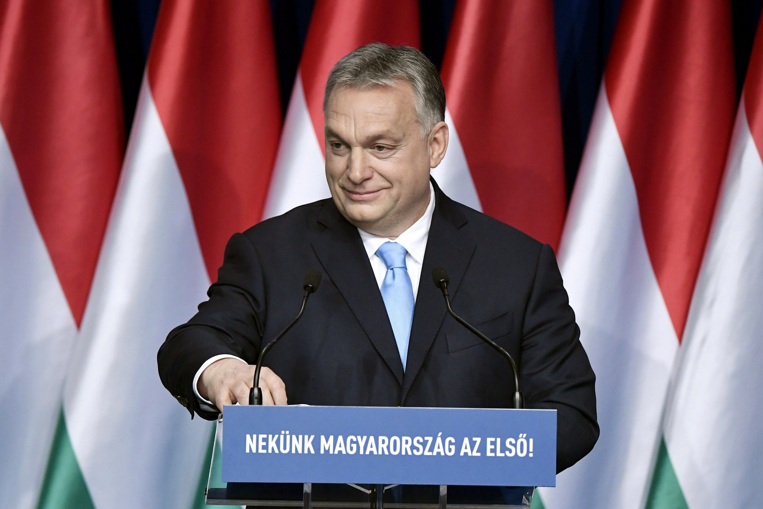 epa07359317 Hungarian Prime Minister Viktor Orban delivers his annual State of the nation speech in Budapest, Hungary, 10 February 2019. The Hungarian government will keep economic growth two percent above the European Union average in the coming years despite an expected slowdown in the global economy, Orban said. EPA/SZILARD KOSZTICSAK HUNGARY OUT
