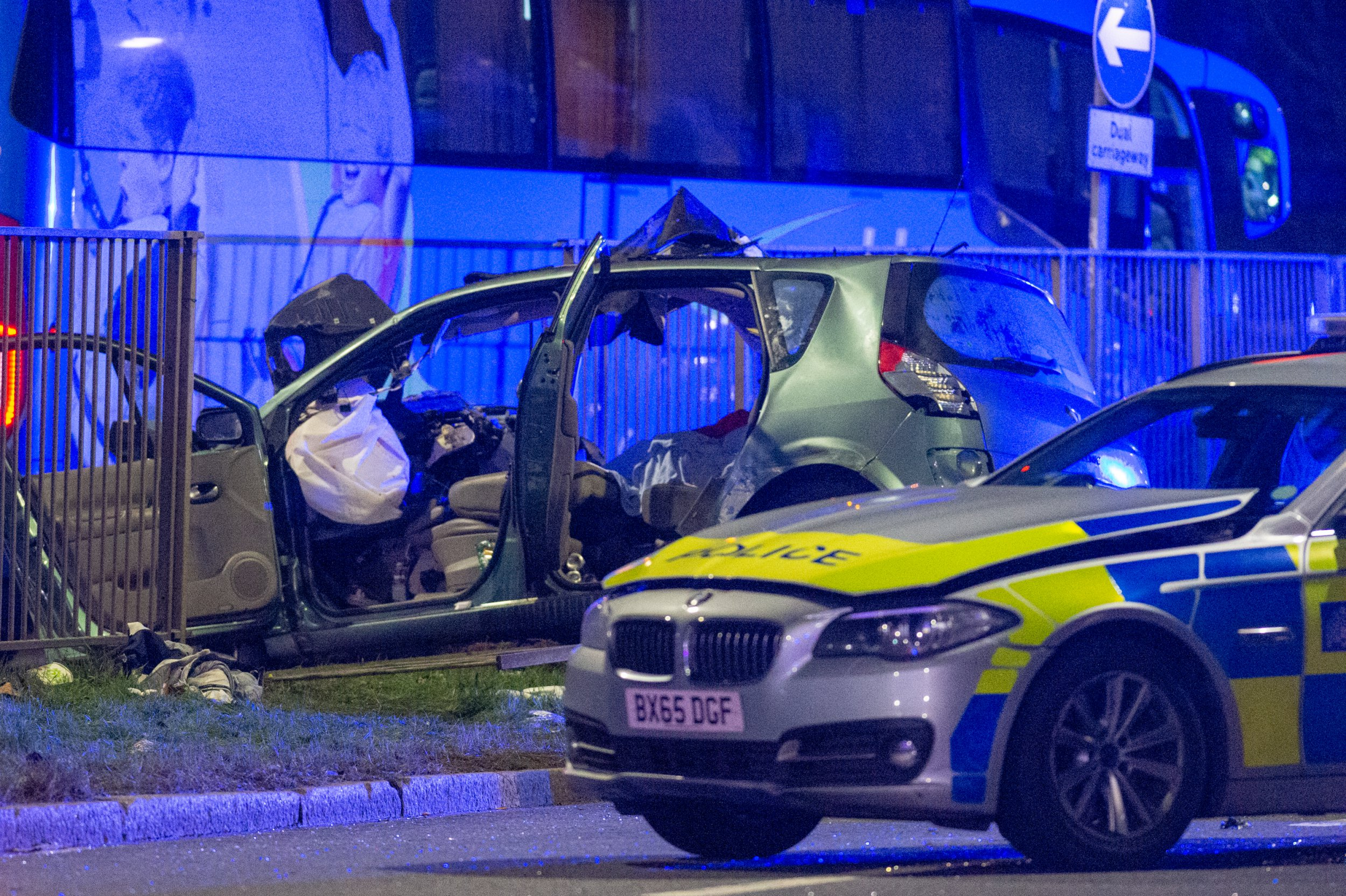 East Acton, United Kingdom. 10 February 2019. A police pursuit has resulted in a fatal road traffic collision involving a police vehicle, car and a coach.. Credit: Peter Manning