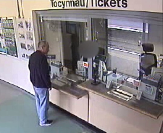 BEST QUALITY AVAILABLE Handout CCTV image dated 02/08/18 issued by Gwent Police of child killer David Gaut 54, hours before he was allegedly murdered by his neighbour, as he buys train tickets around 11.39am at Caerphilly Train Station in south Wales. PRESS ASSOCIATION Photo. Issue date: Monday February 11, 2019. Gaut, was stabbed more than 150 times while still alive, a further 26 times after he died, and his fingernails were also cut off post-mortem. On Monday Gwent Police released the first images of Mr Gaut buying tickets at a train station just hours before the alleged attack at his neighbour?s flat on the evening of August 2 last year. See PA story COURTS Gaut. Photo credit should read: Gwent Police/PA Wire NOTE TO EDITORS: This handout photo may only be used in for editorial reporting purposes for the contemporaneous illustration of events, things or the people in the image or facts mentioned in the caption. Reuse of the picture may require further permission from the copyright holder.