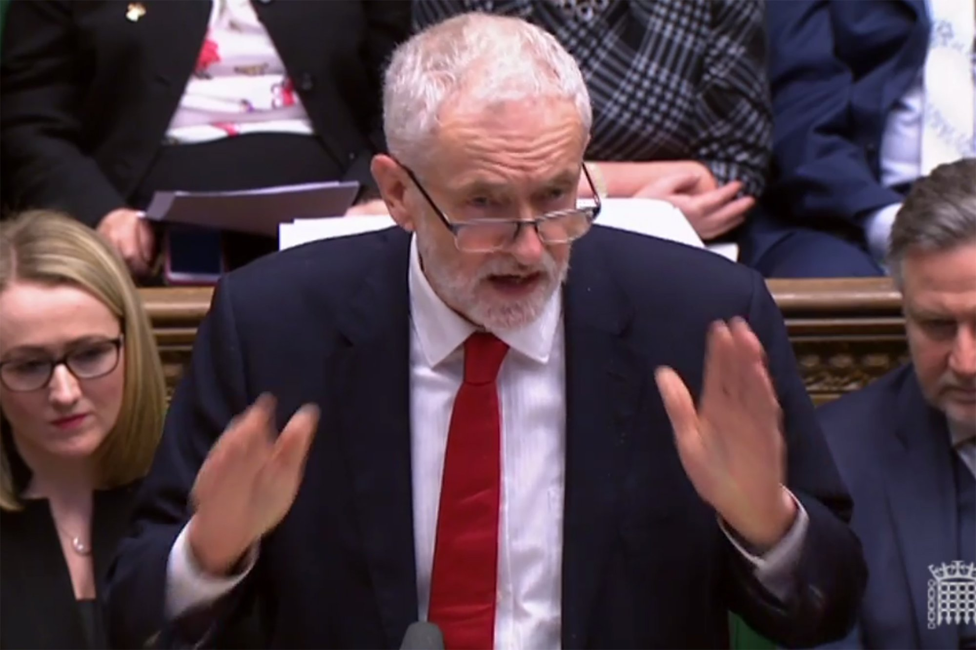"A video grab from footage broadcast by the UK Parliament's Parliamentary Recording Unit (PRU) shows opposition leader Jeremy Corbyn replying to a statement given by Britain's Prime Minister Theresa May on Brexit in the House of Commons in London on February 12, 2019. - May updated parliament on her latest meetings in Brussels and Dublin aimed at securing a divorce agreement with the EU, with Britain due to leave the bloc on March 29. (Photo by HO / PRU / AFP) / RESTRICTED TO EDITORIAL USE - MANDATORY CREDIT "" AFP PHOTO / PRU "" - NO USE FOR ENTERTAINMENT, SATIRICAL, MARKETING OR ADVERTISING CAMPAIGNSHO/AFP/Getty Images"