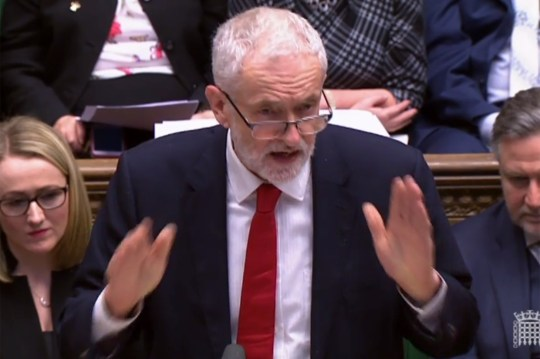 """A video grab from footage broadcast by the UK Parliament's Parliamentary Recording Unit (PRU) shows opposition leader Jeremy Corbyn replying to a statement given by Britain's Prime Minister Theresa May on Brexit in the House of Commons in London on February 12, 2019. - May updated parliament on her latest meetings in Brussels and Dublin aimed at securing a divorce agreement with the EU, with Britain due to leave the bloc on March 29. (Photo by HO / PRU / AFP) / RESTRICTED TO EDITORIAL USE - MANDATORY CREDIT """" AFP PHOTO / PRU """" - NO USE FOR ENTERTAINMENT, SATIRICAL, MARKETING OR ADVERTISING CAMPAIGNSHO/AFP/Getty Images"""