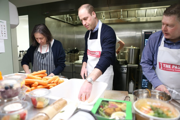 LONDON, ENGLAND - FEBRUARY 13: Prince William, Duke of Cambridge visits the Passage, which is the UK's largest resource centre for homeless and insecurely housed people on February 13, 2019, in London, England. (Photo by Ian Vogler - WPA Pool / Getty Images)