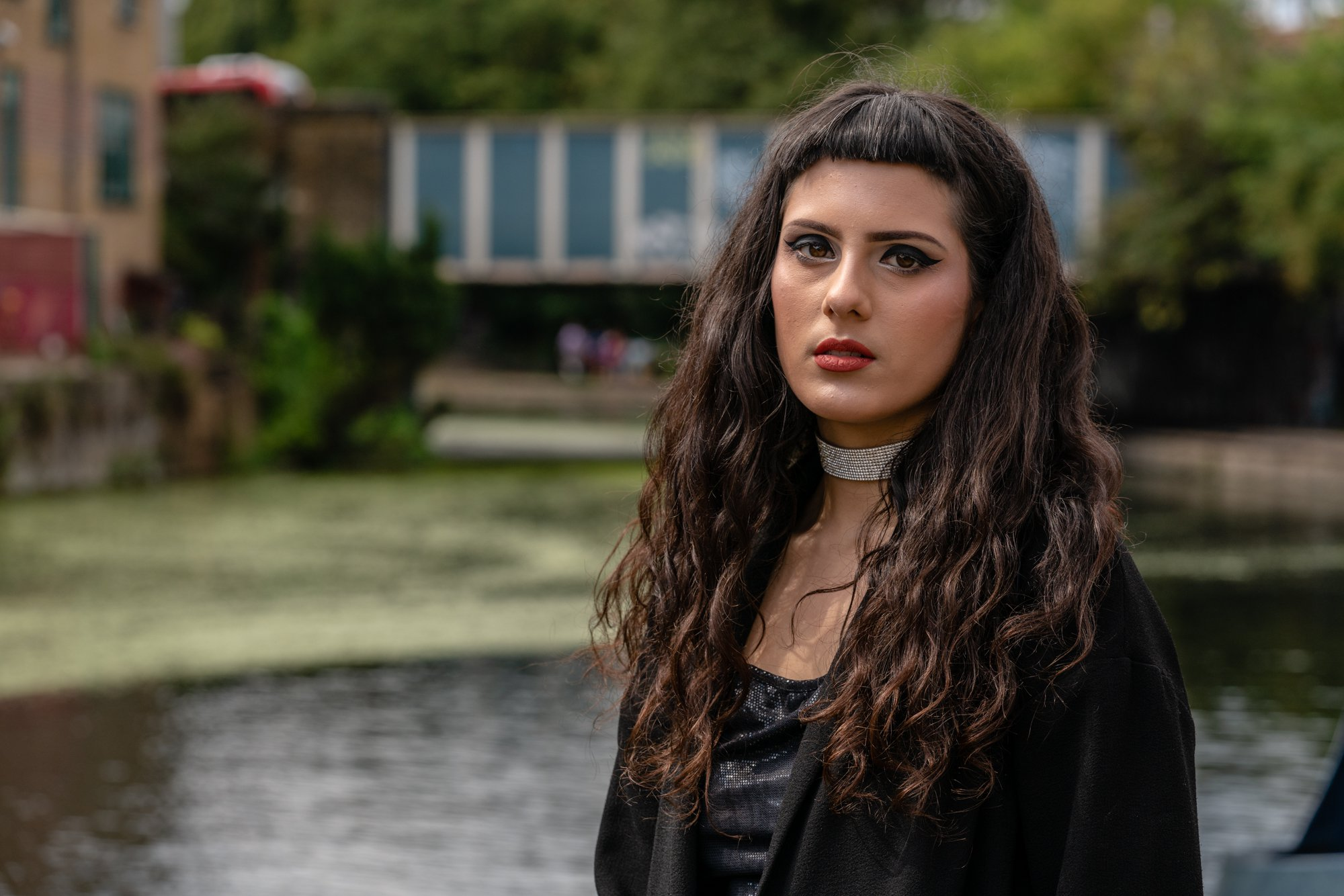 Lana, the author in front of a canal