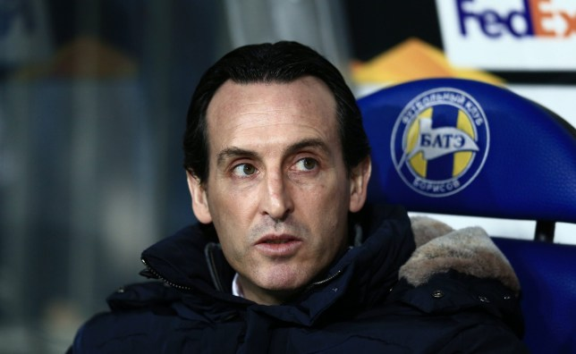 Editorial use only Mandatory Credit: Photo by Michael Zemanek/BPI/REX (10107020d) Unai Emery manager of Arsenal BATE Borisov v Arsenal, UEFA Europa League, Round of 32, 1st leg, Football, Borisov Arena, Borisov, Belarus - 14 Feb 2019