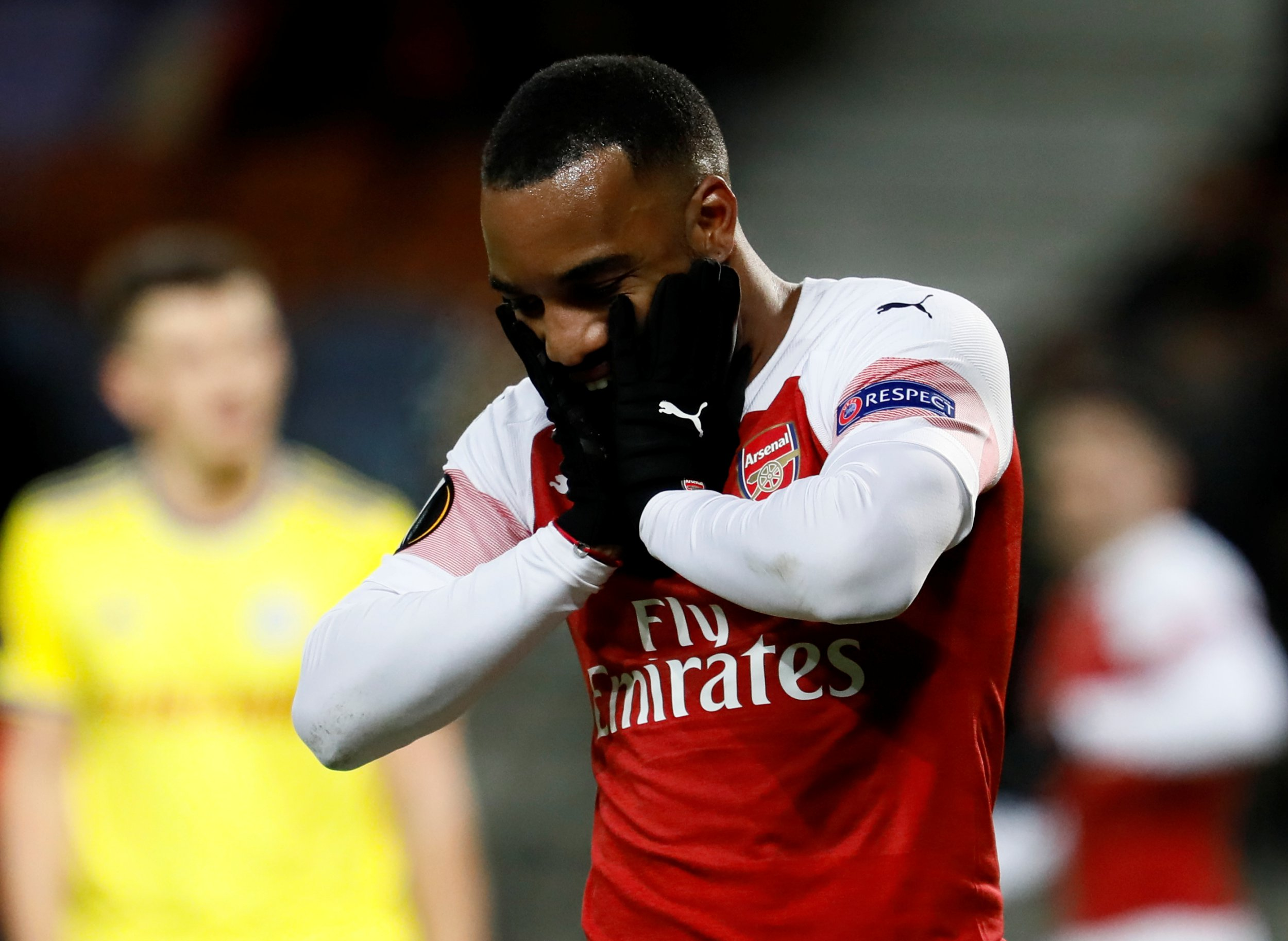 BARYSAW, BELARUS - FEBRUARY 14: Alexandre Lacazette of Arsenal reacts during the UEFA Europa League Round of 32 First Leg match between BATE Barysaw and Arsenal at Barysaw-Arena on February 14, 2019 in Barysaw, Belarus. (Photo by MB Media/Getty Images)