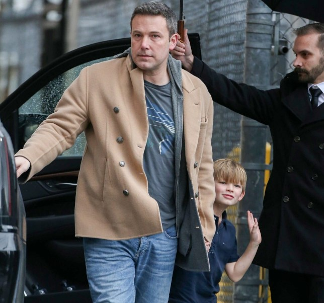 Hollywood, CA - A clean-shaven Ben Affleck arrives with his three kids at the El Capitan Entertainment Centre in Hollywood for a Valentine's Day appearance on Jimmy Kimmel Live! Pictured: Ben Affleck, Samuel Affleck BACKGRID USA 14 FEBRUARY 2019 BYLINE MUST READ: WAGO / BACKGRID USA: +1 310 798 9111 / usasales@backgrid.com UK: +44 208 344 2007 / uksales@backgrid.com *UK Clients - Pictures Containing Children Please Pixelate Face Prior To Publication*