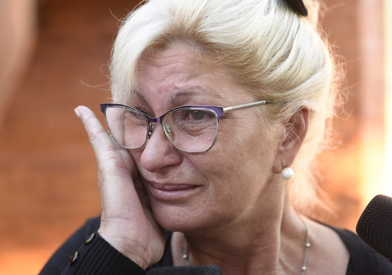 PROGRESO, ARGENTINA - FEBRUARY 16: Emiliano Sala's aunt Mirta Taffarel talks to the media as she leaves the vigil at Sala's boyhood club San Martin de Progreso on February 16, 2019 in Progreso, Argentina. 28-year-old striker was killed when the private plane carrying him from Nantes to Cardiff crashed in the English Channel near Alderney on January 21. Sala's body was recovered from the wreckage on February 6 and pilot David Ibbotson remains missing. (Photo by Gustavo Garello/Getty Images)