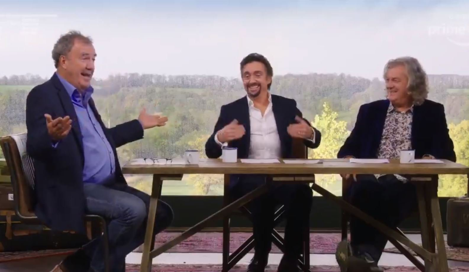 The Grand Tour presenters Jeremy Clarkson, James May and Richard Hammond in studio