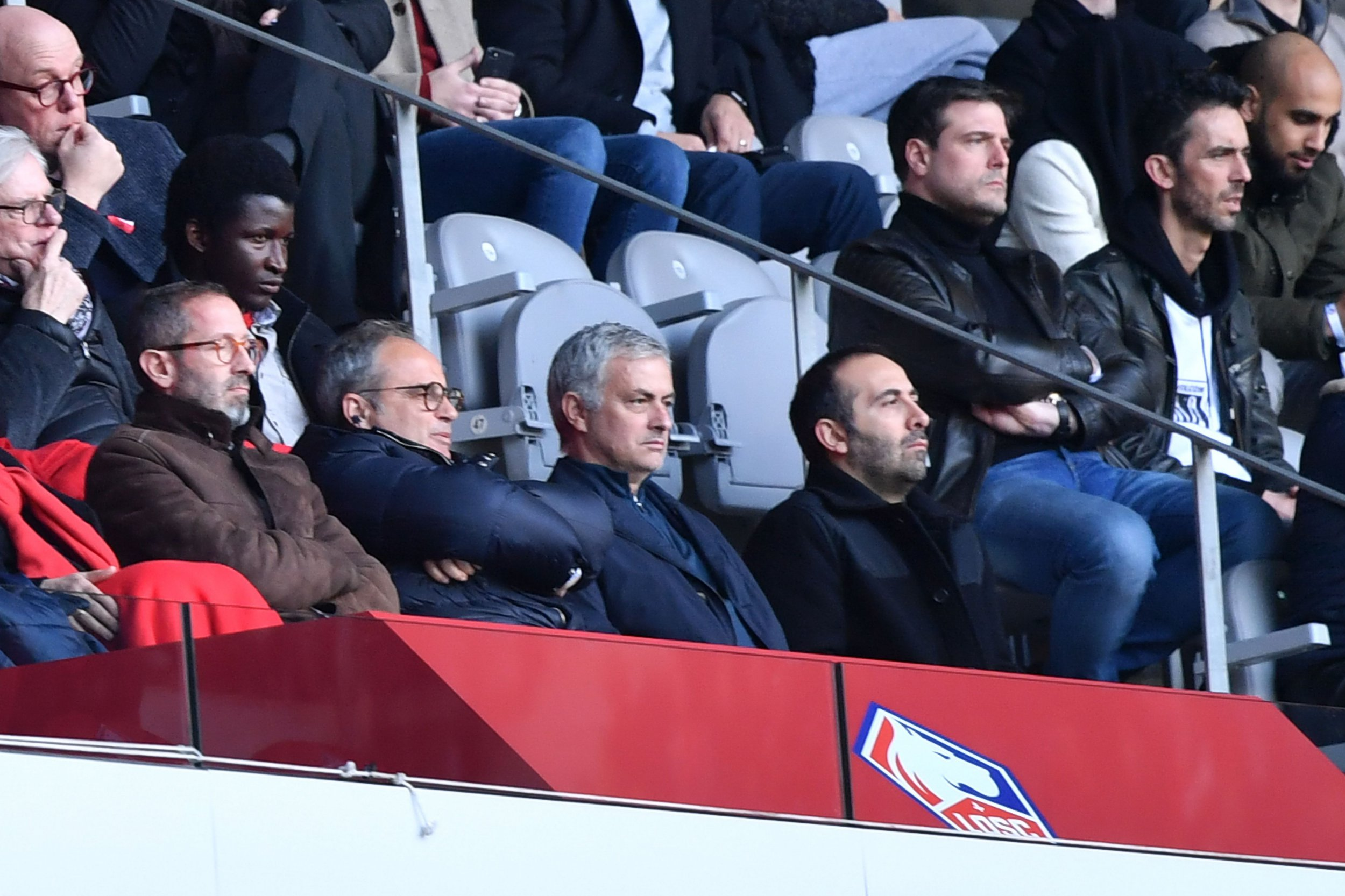 Former Manchester United manager Jose Mourinho (front, 2R) watches the French L1 football match Lille vs Montpellier on Februrary 17, 2019 at the Pierre Mauroy Stadium in Villeneuve-d'Ascq, northern France. (Photo by PHILIPPE HUGUEN / AFP)PHILIPPE HUGUEN/AFP/Getty Images