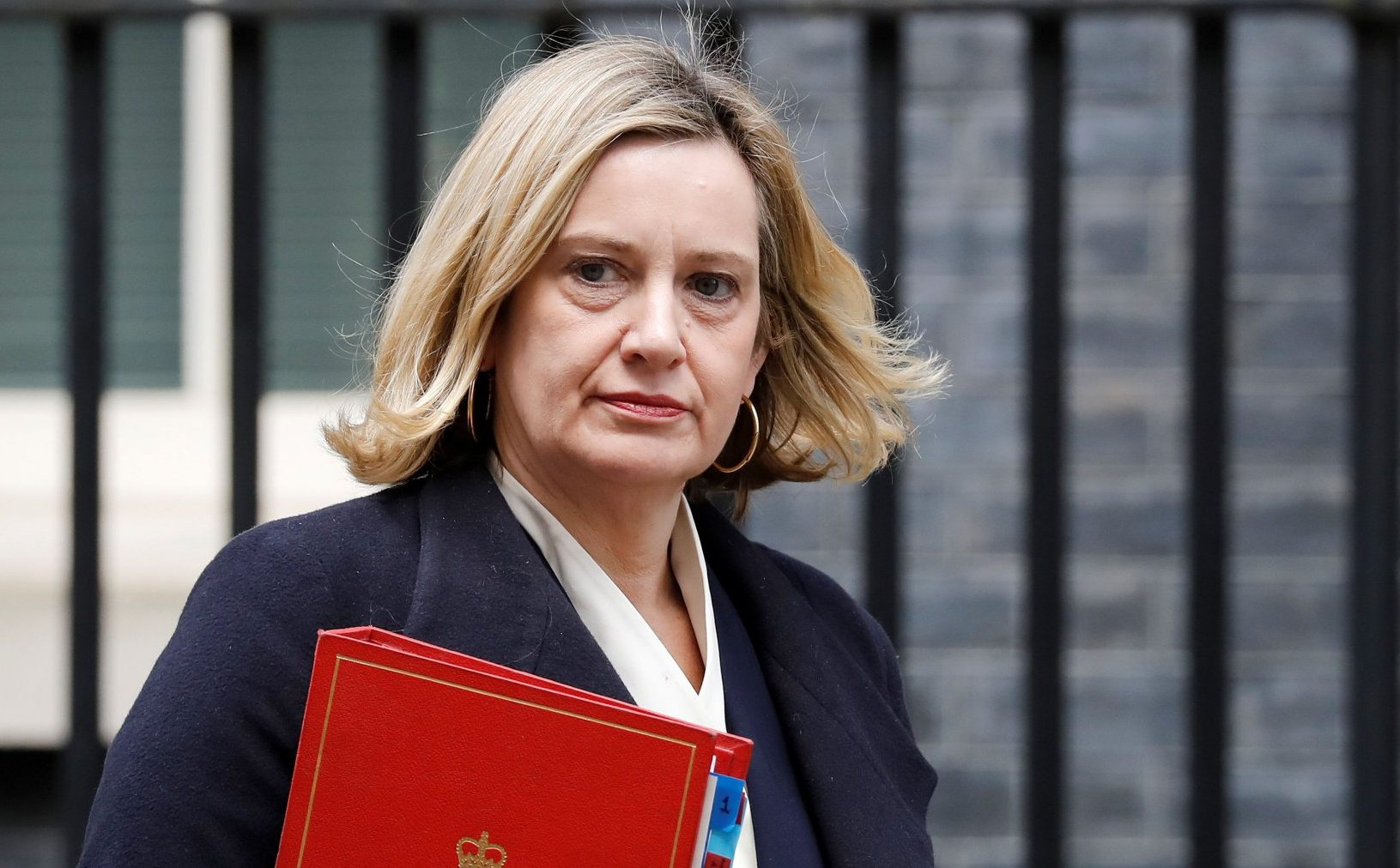 """Britain's Work and Pensions Secretary Amber Rudd leaves after attending the weekly cabinet meeting at 10 Downing Street in London on February 19, 2019. - The British government on Friday dismissed as a """"hiccup"""" its latest parliamentary defeat over Brexit, saying it would press on with trying to renegotiate its EU divorce deal as exit day looms in just six weeks. (Photo by Tolga AKMEN / AFP)TOLGA AKMEN/AFP/Getty Images"""