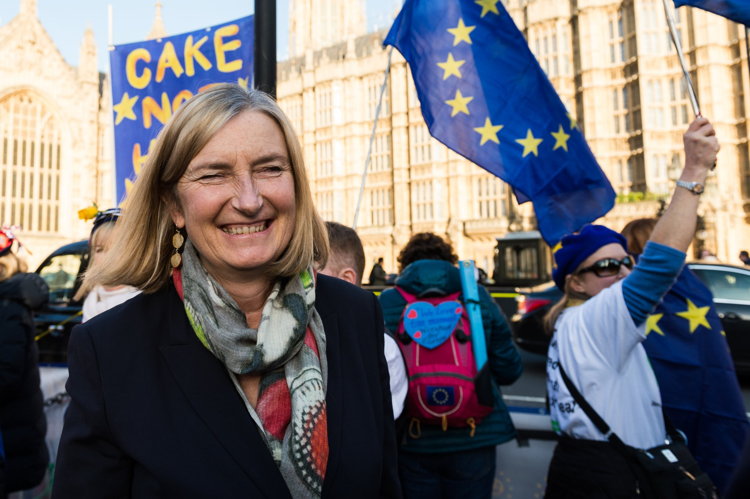 Conservative Party MP Sarah Wollaston joined anti-Brexit supporters demonstrating outside the Houses of Parliament in London on 14 February, 2019. Protesters call on MPs to get Article 50 revoked and demand a People's Vote on EU membership. Today Members of Parliament debate and vote on an amendable government motion relating to the next stage of Brexit negotiations. (Photo by WIktor Szymanowicz/NurPhoto via Getty Images)