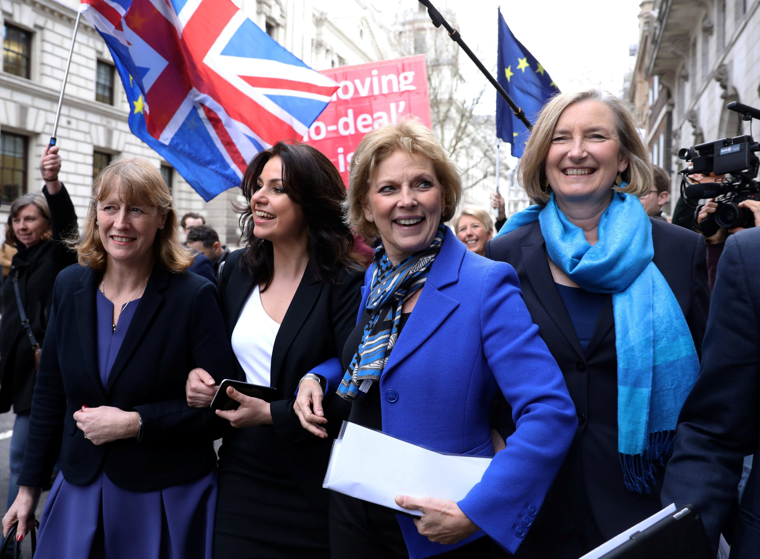 British Conservative Party MPs Joan Ryan, Heidi Allen, Anna Soubry and Sarah Wollaston arrive at a news conference in London, Britain February 20, 2019. REUTERS/Simon Dawson