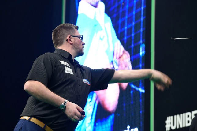 21/2/19: James Wade in action against Gerwyn Price during the Unibet Premier League Darts match at the 3Arena, Dublin. Picture: Michael Cooper