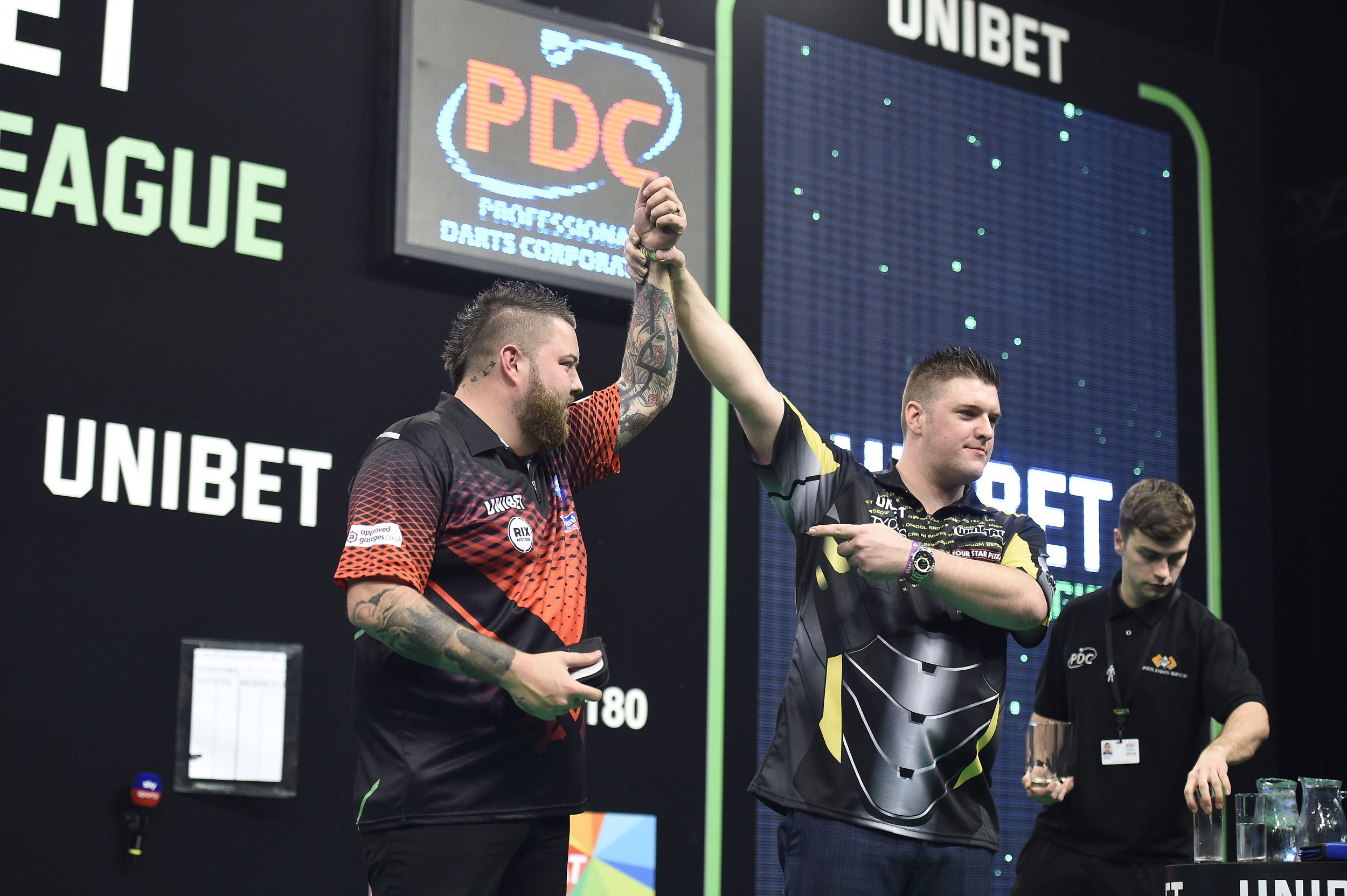 21/2/19: Daryl Gurney in action against Michael Smith in action during the Unibet Premier League Darts match at the 3Arena, Dublin. Picture: Michael Cooper
