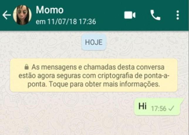Momo challenge Whatsapp message
