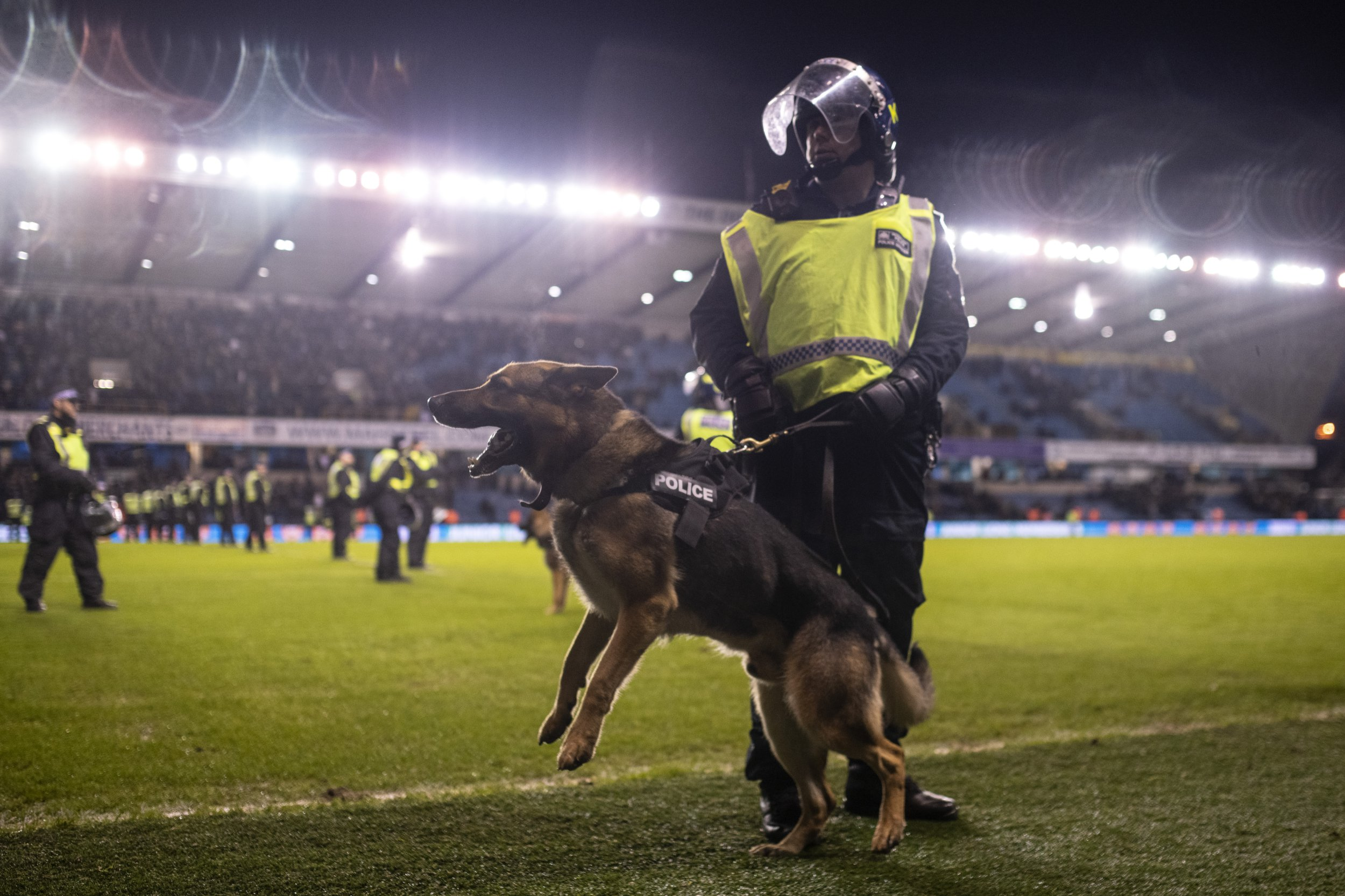 Millwall charged for alleged racist chanting LONDON, ENGLAND - JANUARY 26: A policeman and police dog are seen on the pitch after the FA Cup Fourth Round match between Millwall and Everton at The Den on January 26, 2019 in London, United Kingdom. (Photo by Justin Setterfield/Getty Images)