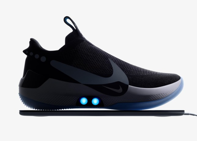 Undated handout photo issued by Nike of the new Nike Adapt BB basketball shoe. Nike is looking into a fix for an issue with its self-lacing shoes, after users of the Android app used to operate the footwear reported connection problems. PRESS ASSOCIATION Photo. Issue date: Friday February 22, 2019. See PA story TECHNOLOGY Nike. Photo credit should read: Nike/PA Wire NOTE TO EDITORS: This handout photo may only be used in for editorial reporting purposes for the contemporaneous illustration of events, things or the people in the image or facts mentioned in the caption. Reuse of the picture may require further permission from the copyright holder.