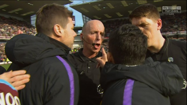 What did Mike Dean say to Mauricio Pochettino after Tottenham's defeat to Burnley?