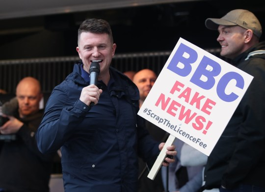 Former English Defence League leader Tommy Robinson as he addresses a protest over the BBC's Panorama programme outside the BBC in MediaCityUK, Salford. PRESS ASSOCIATION Photo. Picture date: Saturday February 23, 2019. See PA story MEDIA Robinson. Photo credit should read: Danny Lawson/PA Wire